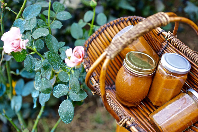 Close-up Focus On Foreground Food And Drink Freshness Group Of Objects Jam Jar Jars  Peach Jam Large Group Of Objects Orange Color Yellow Picking Fruit Wooden