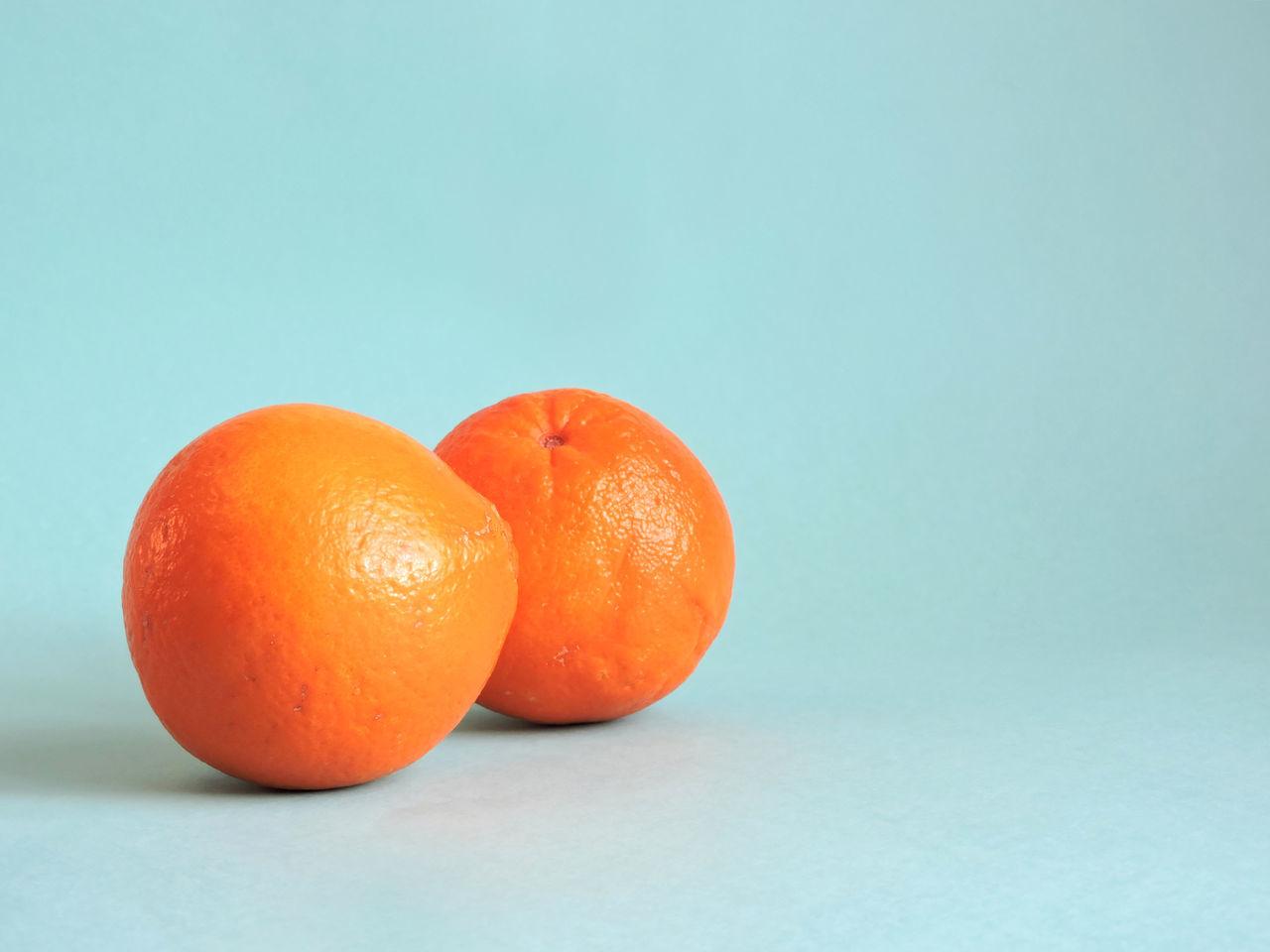 Blue Background Fruit Minimal Orange Side View Simple Studio