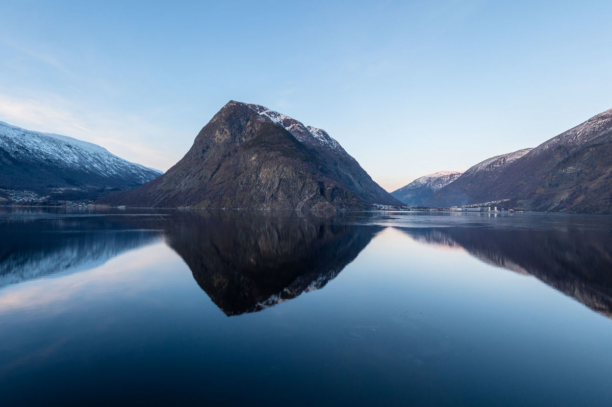 The calm of the water in Sognefjord, Norway 2017 Beauty In Nature Blue Calm Clear Sky Day Landscape Mountain Mountain Range Nature Nikon No People Norway Outdoors Reflection Regular Scenics Sea Sky Sun Sunset Symmetry Tranquil Scene Tranquility Water Waterfront
