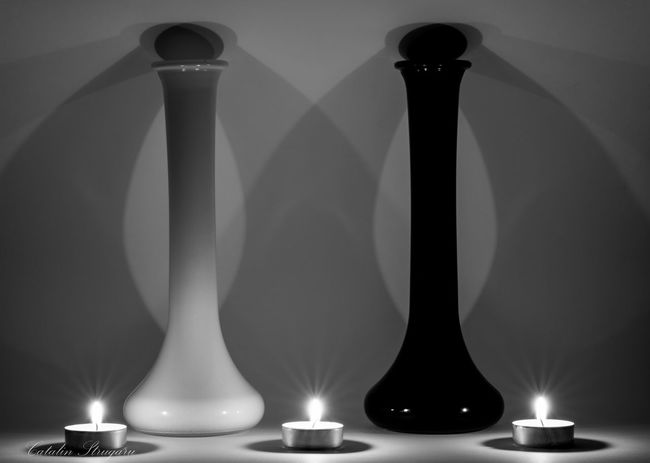 Angel and Demon Shadows And Backlighting Beauty In Ordinary Things Glass Black And White Candle Shadows & Lights Beautifull Creature Glass_collection Creative Light And Shadow Candlelight Black And White Photography Composition Candle Flame Candle Light Composition Abstract