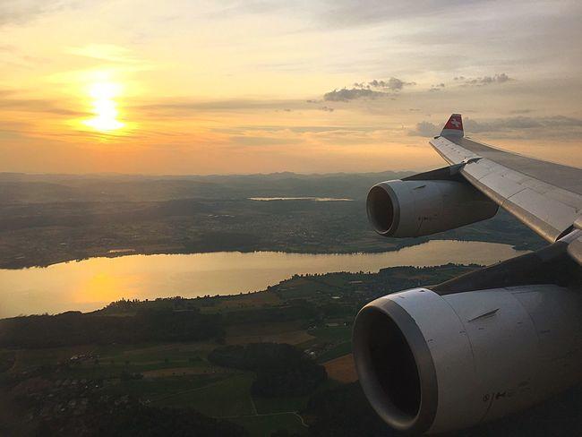 The Journey Is The Destination Sunrise Swissair Landing Zürich Lakes  Reflection Engines AirbusA-340