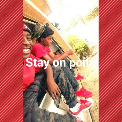 I angled the camera the best I could but we were swagging my mom was matching us too but she wouldn't take a pic lol Matching Friends Lightskins Darkskin RedAndBlack Joggers Vans Adidas Swaggin Fresh StayOnPoint Snapchat