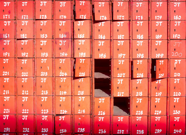 Africa Collection: Postal box offices dating from colonial days of the British Empire in Ghana's capital Accra in most heritage area Jamestown, most of them still in use...with hand written serial numbers... Accra Africa Bored Boxe Close-up Full Frame Ghana In A Row Jamestown Metal Metallic Numbers Orange Color Pattern Post Postal Postal Box Postal Service Red Red Repetition Répétitions Avec Opus Jam Side By Side