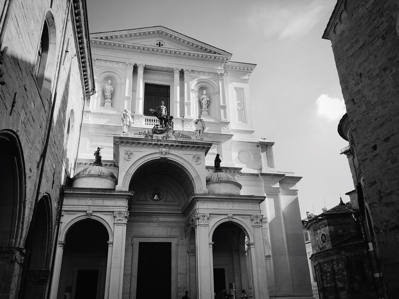 Monochrome Photography Architecture Building Exterior Religion Spirituality Spiritual History Light And Shadow No People Italy Italia Bergamo Old Buildings Church Travel Traveling Travel Destinations Travel Photography Blackandwhite Streetphoto_bw Black And White Black & White Streetphotography Street Photography Art