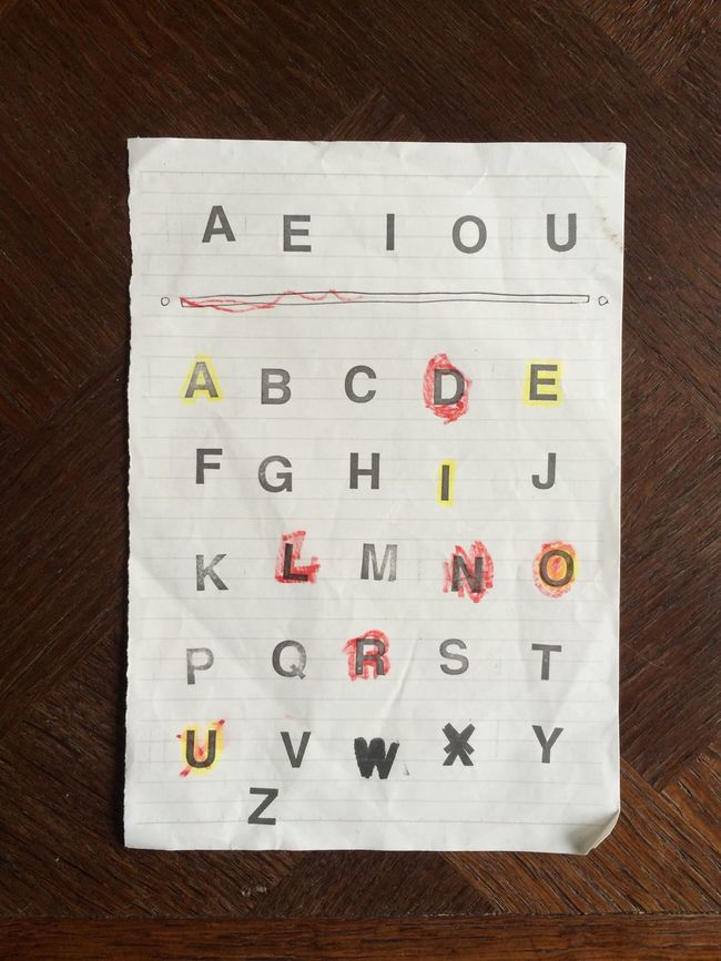 AEIOU ABC Letters Paper Papercraft Alphabet Table