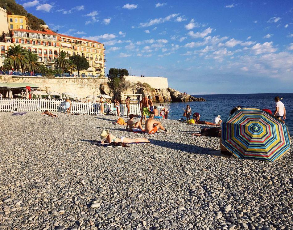 Beach Sand Sea France Côte D'Azur Water Umbrella Colorful