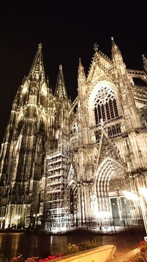 Night Illuminated Architecture Low Angle View Cologne , Köln,  Cathedral Cologne Cathedral Building Exterior Travel Destinations Tourism Religion Majestic Outdoors Façade