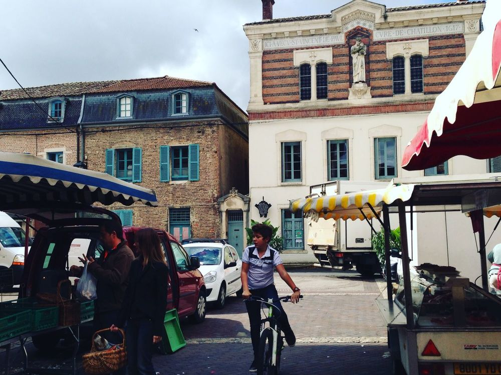 Saturday happy boy on a bike France Farmers Market Countryside Bike