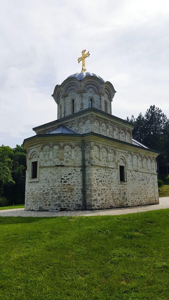 Fruška Gora Manastir Novo Hopovo Monastery Sky Grassland Golden Cross