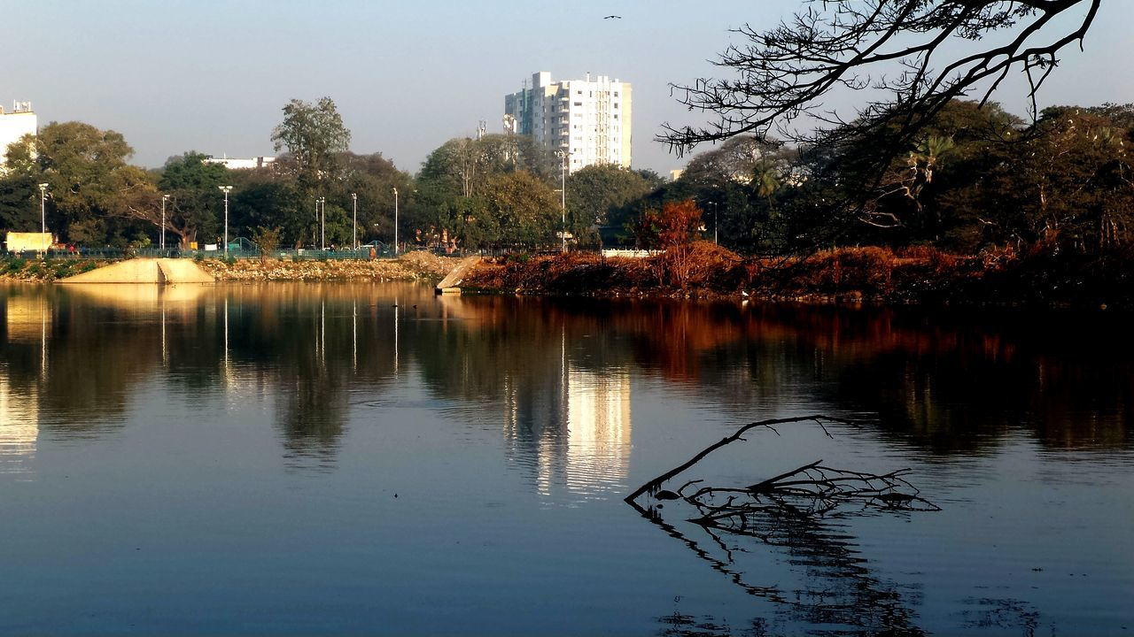 reflection, water, tree, architecture, lake, built structure, building exterior, no people, waterfront, outdoors, sky, city, day, skyscraper, nature