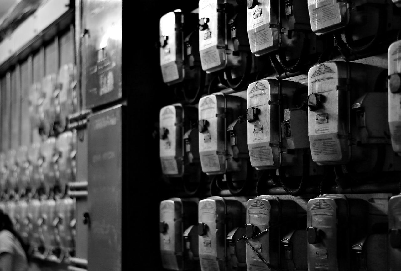 Arrangement Black & White Bnw Close-up Communication Day EyeEmNewHere For Sale Ideas In A Row Indoors  Large Group Of Objects Meter - Instrument Of Measurement No People Pattern Shelf Text Variation