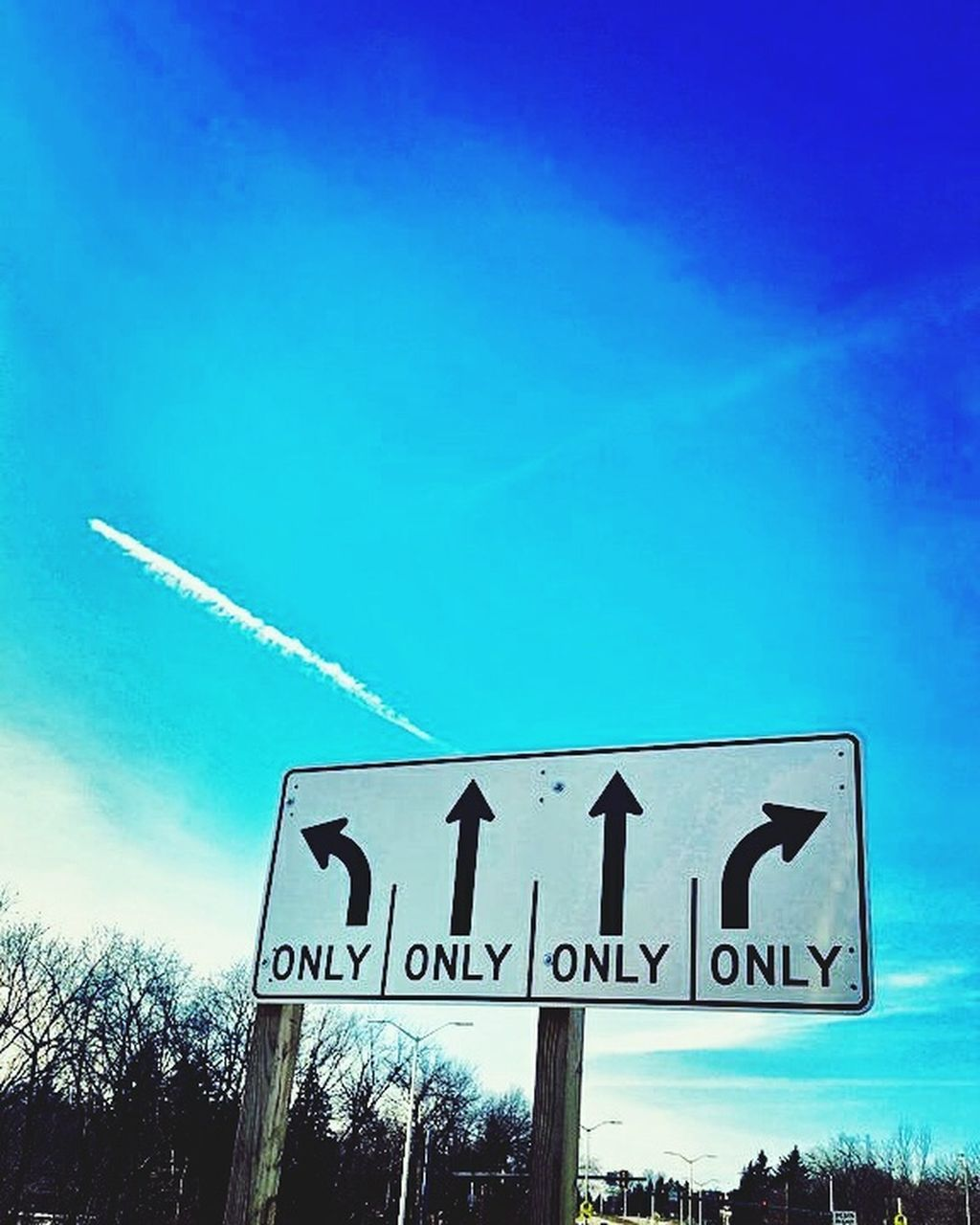 guidance, text, blue, communication, sky, no people, direction, outdoors, road sign, day, nature, vapor trail