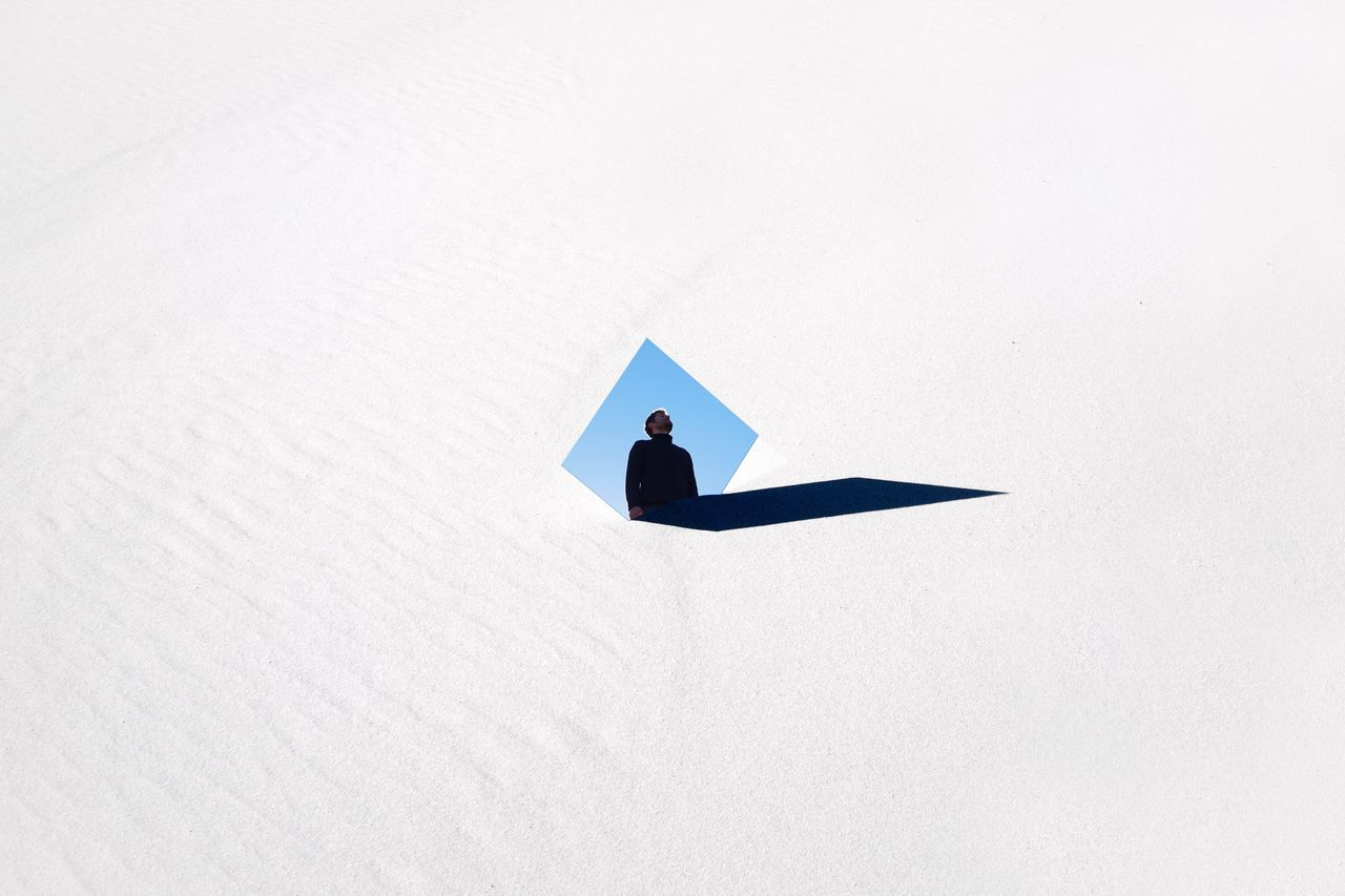 one person real people outdoors EyeEm Best Edits EyeEmBestPics EyeEm Best Shots shapes and forms details textures and shapes white sand Dunes dune du Pyla self portrait selfie Mirror mirrorselfie TheWeekOnEyeEM