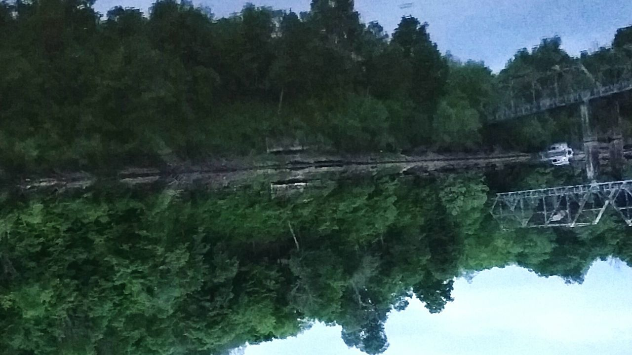 This photo is upside down on purpose. Nature's Perfection of Reflection. Water Reflection Taking Photos Enjoying Life Natural Pattern No Effects Optical Illusion Tree Silhouette Reflections My Photography Playing With Pictures. Lake View Lakelife Lakescape Bridge Over Water Waterscape Photography Bridge Reflections Bridge Landscape_photography Landscape Dreamscapes