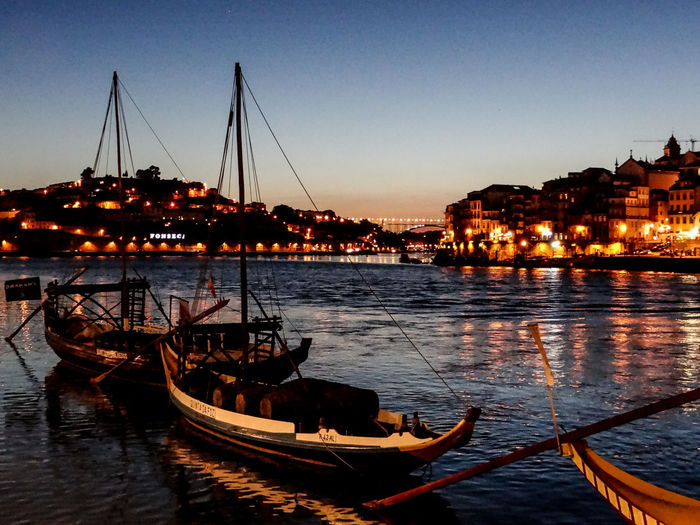 Calm Clear Sky Duoro River I Love Portugal Illuminated Moored Nautical Vessel Night Photography Rabelos Reflection Riverbank Transportation Twilight Waterfront
