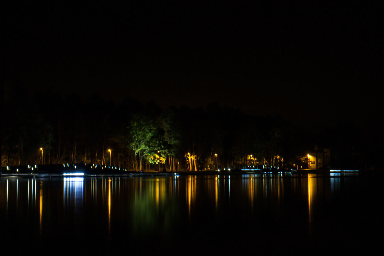night, illuminated, water, reflection, river, no people, built structure, nature, outdoors, tree, beauty in nature, architecture, sky