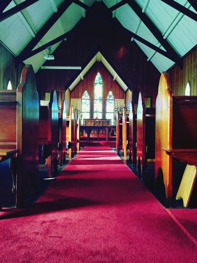 Indoors  Built Structure Architecture No People Red New Zealand Photography Missionary New Zealand Architecture Architecture Church Buildings Church Interior Christianism Missionary Memories