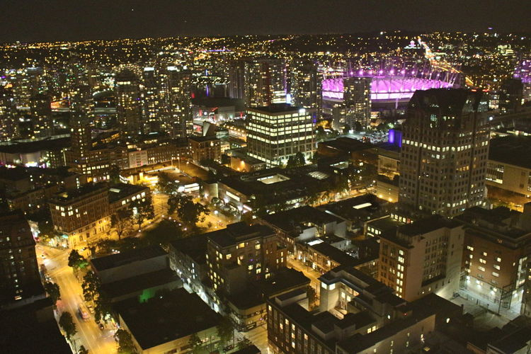 Architecture BC Place City Cityscape High Angle View Illuminated Night Travel Destinations Urban Skyline Vancouverisawesome Wide Shot Battle Of The Cities