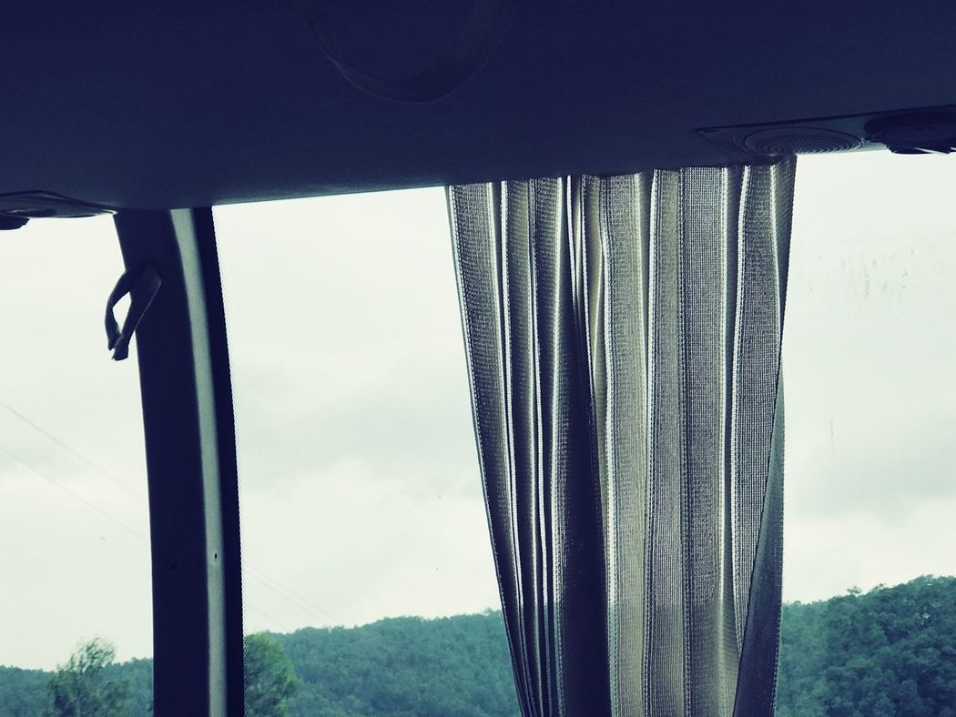 On the road Window Bus Window Day Sky Nature Curtain Outdoors No People