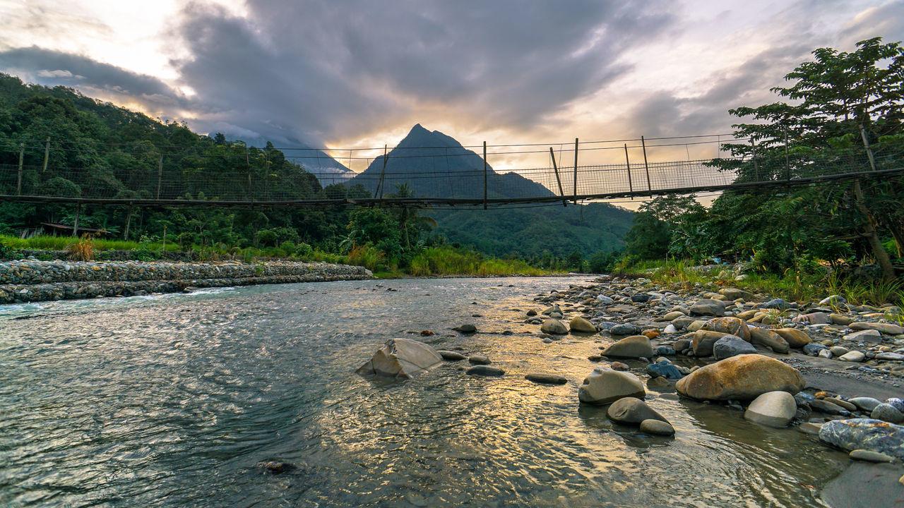 ASIA Borneo Kadamaian River Kota Belud Malaysia Truly Asia Mountain Kinabalu Mountain Nungkok Mountain River Nature Sabah Borneo Sunset Tambatuon