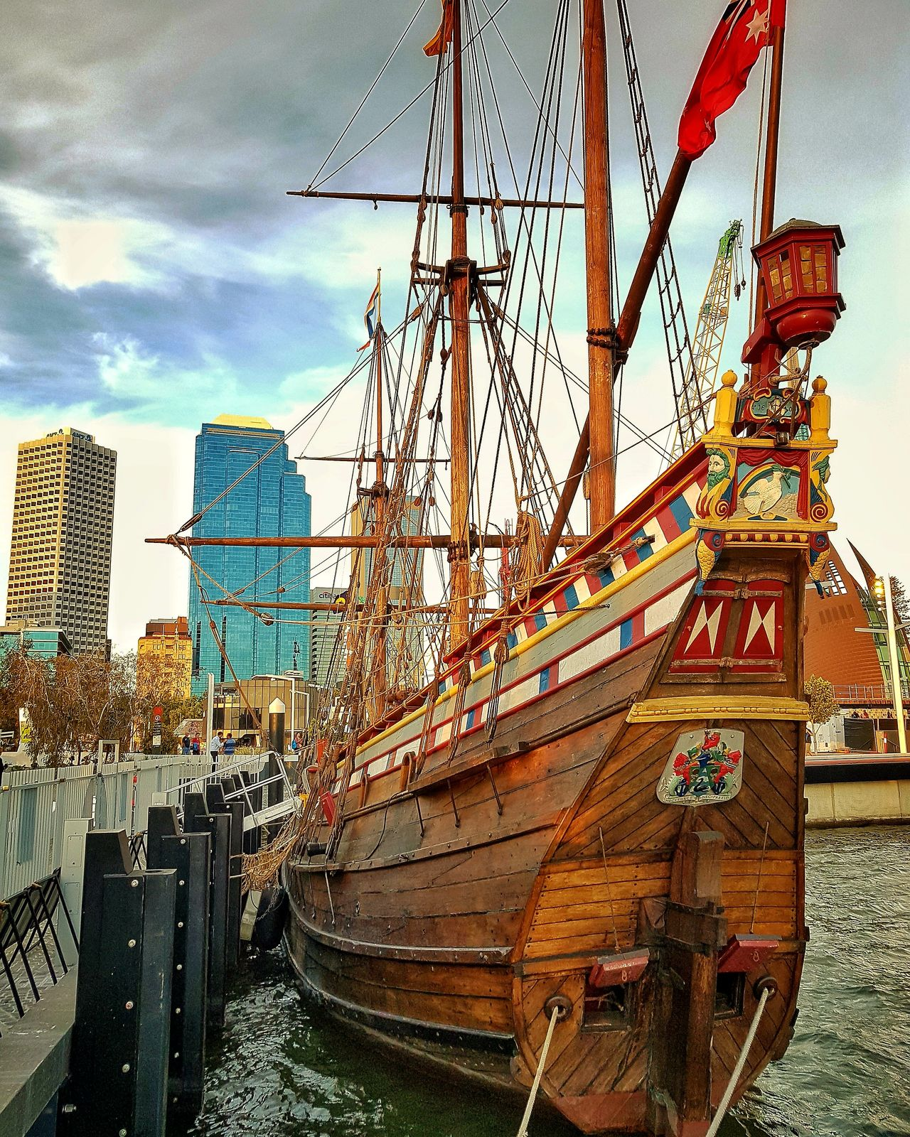 The Duyfken replica boat, moored at Elizabeth Quay in Perth Boats⛵️ Moored Harbour Outdoors