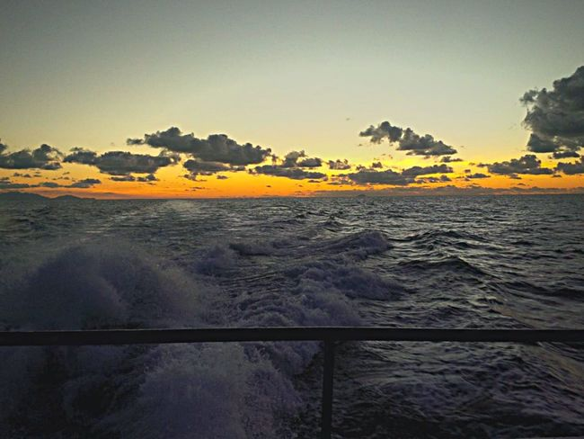 Holiday Snap.. Sea And Sky Oceanwater Waves Sun Sunset Boatride