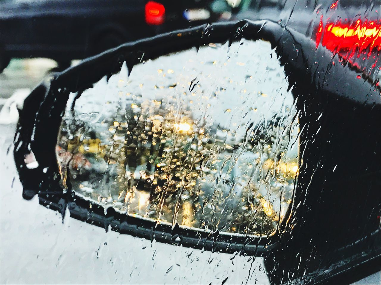 it's a rainy day today Raindrops Car Side-view Mirror Rain Rainy Days Driving Reflection Traffic Brake Lights