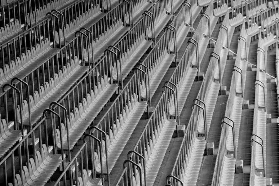 No People Spectator STAND Stadium Sport Chair In A Row Full Frame Backgrounds Large Group Of Objects Day Structure Metal Cold