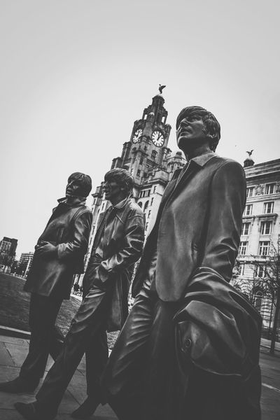 The Beatles Liver Building Taking Photos John Lennon Paul Mccartney Liverpool, England Liverpool B&w Photo Check This Out B&w Photography Beatles