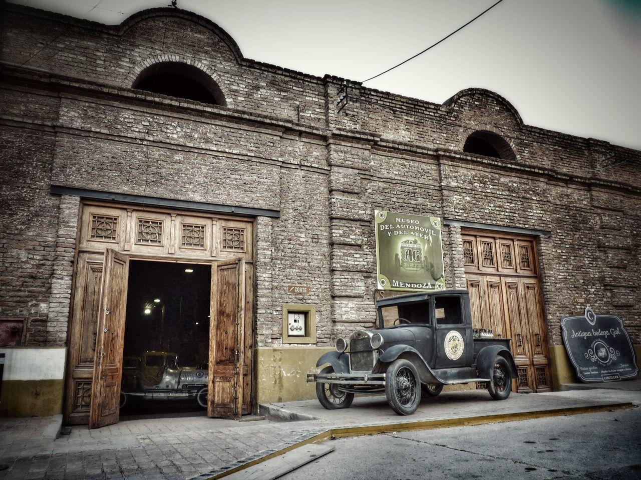 Yesterday's Museum. Old Days Vintage Photo Architecture Building Exterior Façade Door Entrance No People Outdoors Day Sky History Museum Building Interior Old Cars Perspective Brick Wall Cloudy Old Times First Eyeem Photo Edited