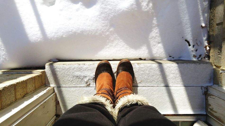 Low Section Human Leg Standing Personal Perspective Human Body Part One Person Close-up Day People Indoors  Adults Only Adult Winter Winter Boots Snow Snowy Morning Winter Life Snow Covered