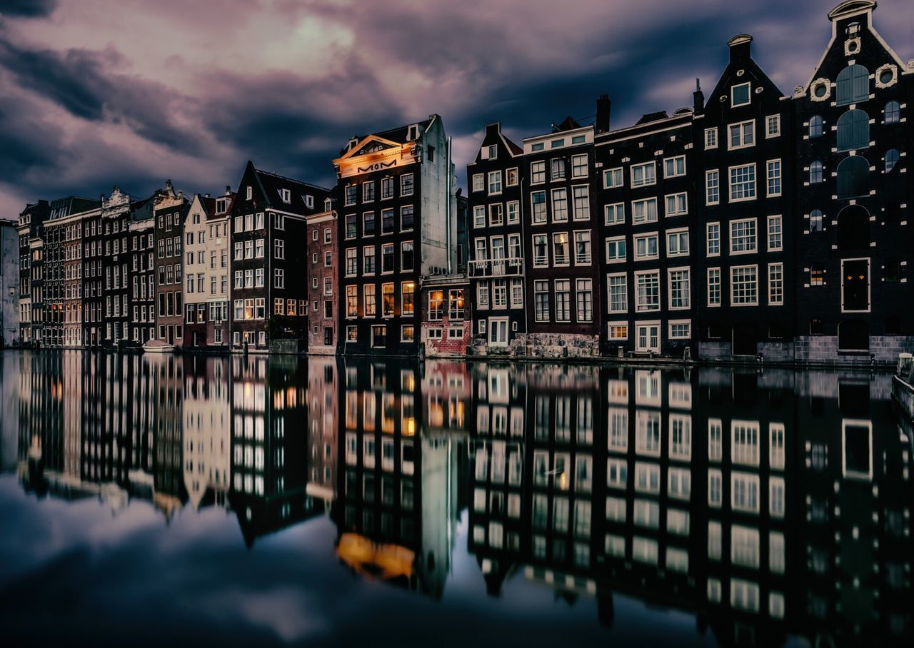 Damrak Amsterdam, Holland. Dutch Canals Tourists Weekend Activities Tourist Attraction  Canal Houses Cloud Clouds And Sky Reflection Reflections First Eyeem Photo