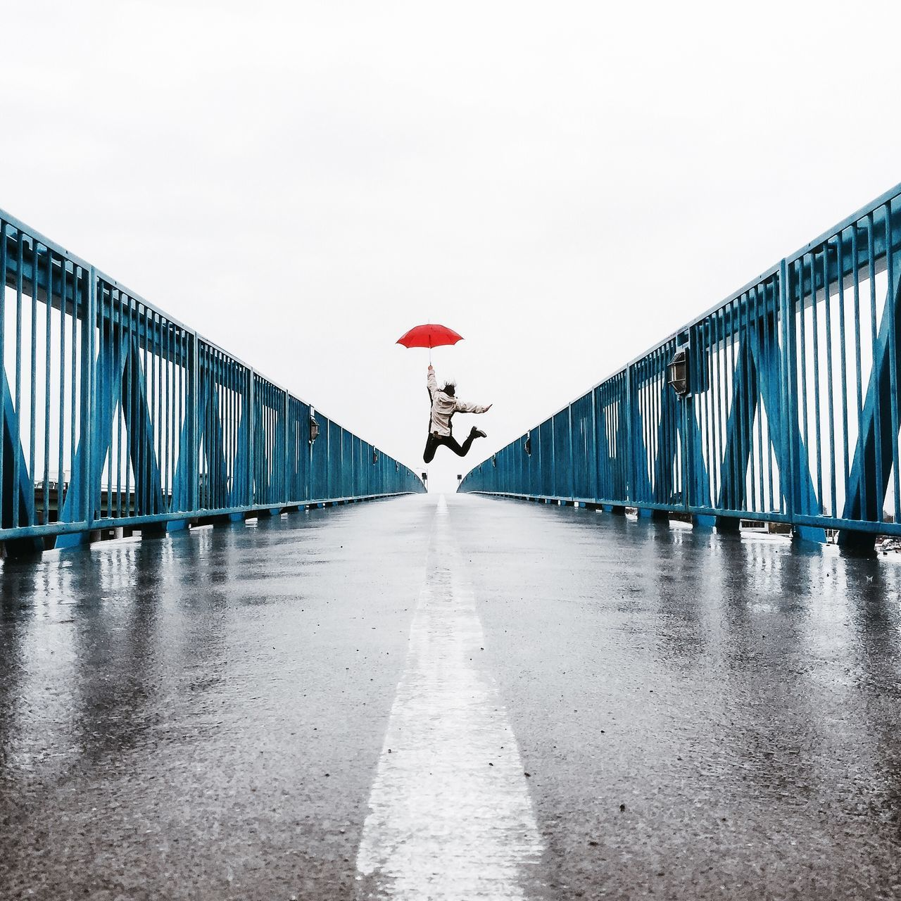 Jumpshot Red Umbrella Rain Bridge Happy Celebrating Jump The Moment - 2015 EyeEm Awards