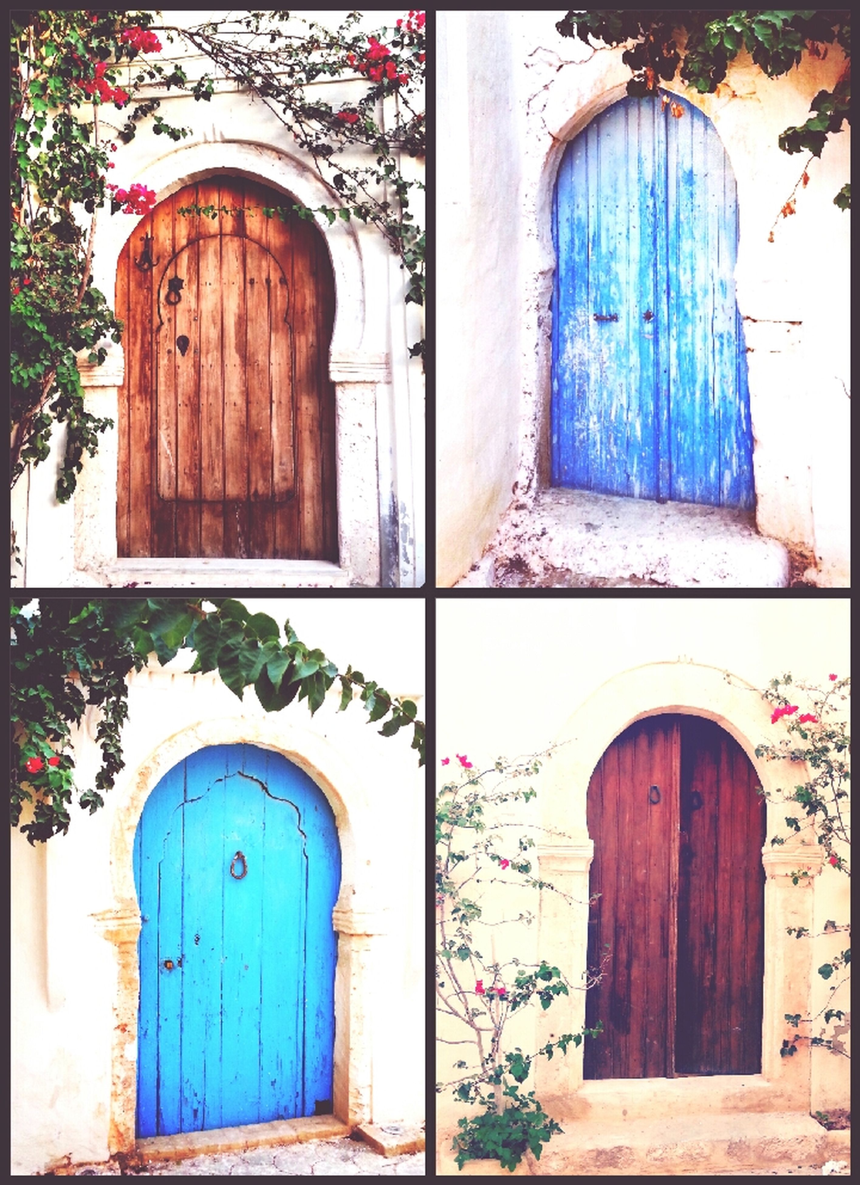 architecture, built structure, building exterior, door, house, old, arch, closed, entrance, window, weathered, blue, residential structure, abandoned, wall - building feature, damaged, outdoors, wall, day, residential building