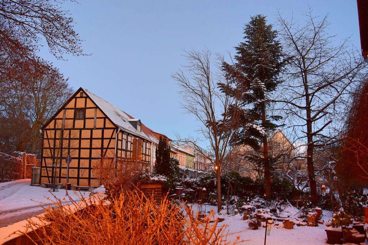 Architecture Beauty In Nature Building Exterior Built Structure City Day Half-timbered Half-timbered House Historical Building Nature No People Old Old Buildings Outdoors Sky Snow Tranquility Tree Winter