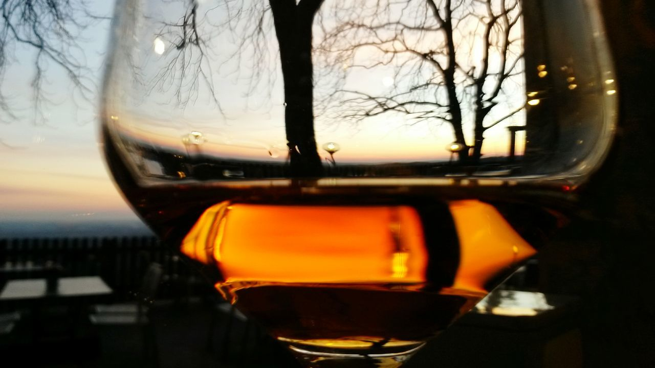 Sunset Sky Reflection Drink Tree Alcohol Cold Temperature No People Close-up Outdoors Sweet Wine Sunset Silhouettes