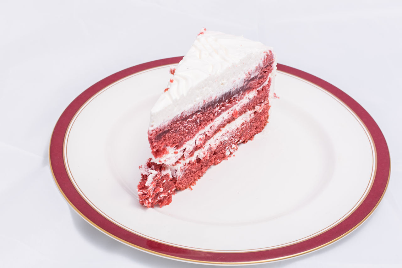 Close-Up Of Red Velvet Cake In Plate