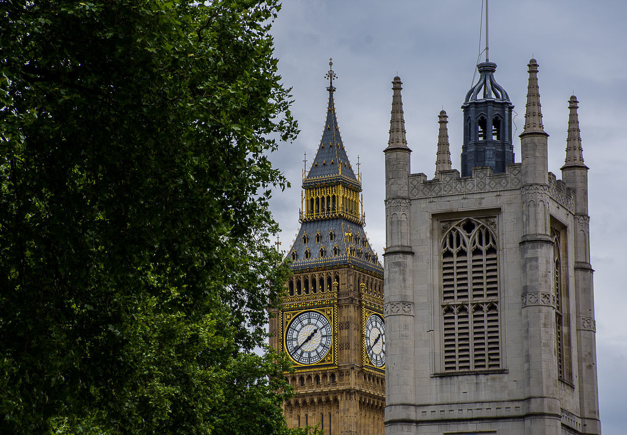 Architecture Big Ben Bigben Building Exterior Built Structure City Clock Tower Day Low Angle View Nature No People Outdoors Place Of Worship Religion Sky Spirituality Tower Travel Destinations Tree