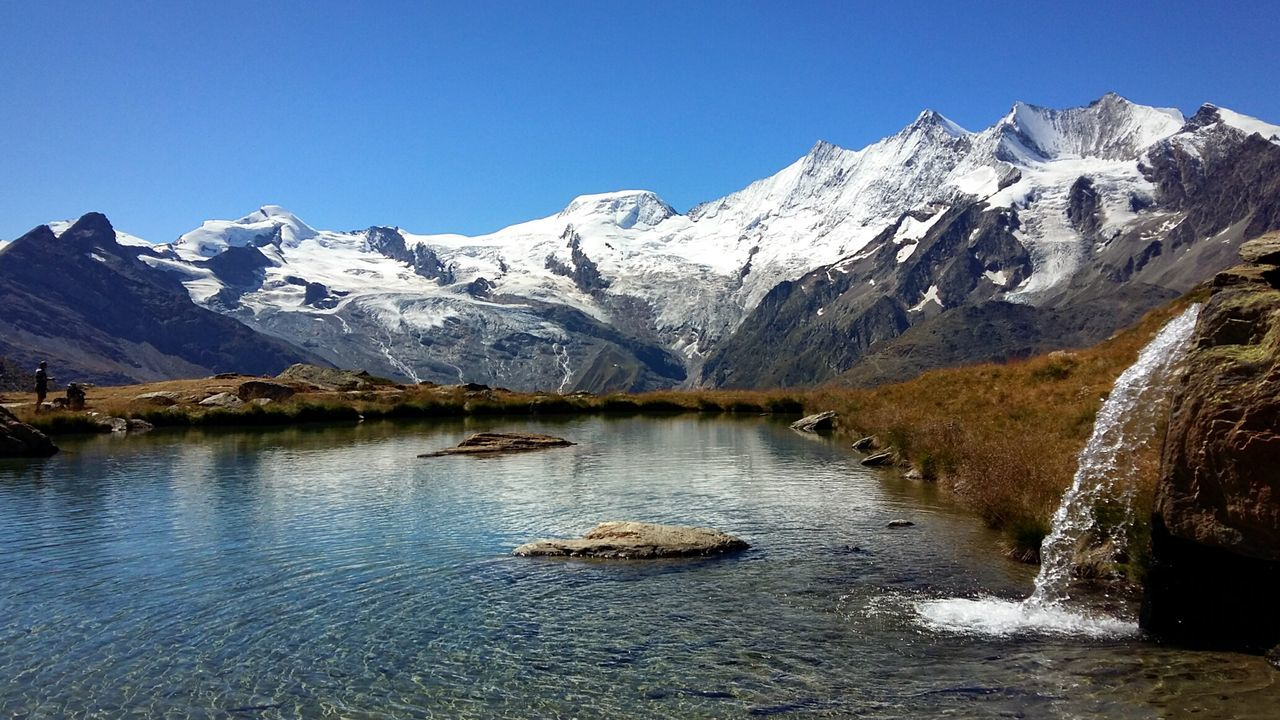 Snow Mountain Water Clear Sky Beauty In Nature Mountain Range Nature Idyllic Saasfee Suisse  Lake Saas Fee Kreuzboden Switzerland