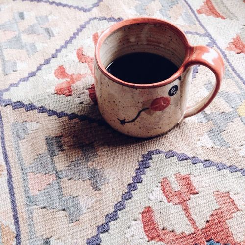 Cup Mug Coffee Coffee Time Black Coffee Carpet Carpet Design Ottoman Turkish Carpets Floor From My Point Of View From Where I Sit Details Handmade Pottery Home Cozy