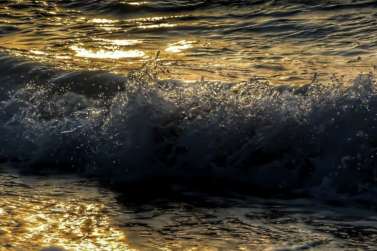 Beauty In Nature Close-up Motion Nature No People Outdoors Sea Sunlight, Shades And Shadows Sunset Water Waterfront Wave