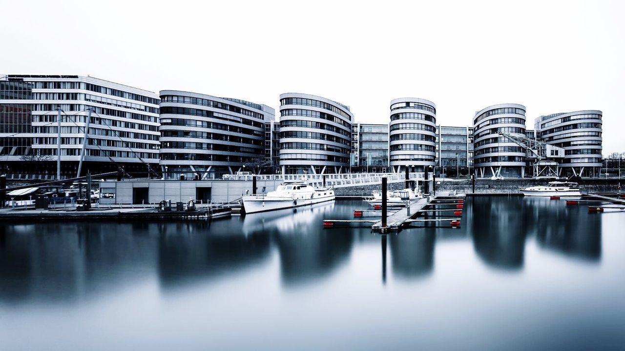 Duisburg Innenhafen Marina Reflection City Building Exterior Architecture Outdoors Waterfront No People Cityscape Day Sky Urban Skyline Water White Background Duisburg Duisburg Innenhafen Duisburg Marina Moody Urban Look Urban Calm Calmness Calm Water The Architect - 2017 EyeEm Awards
