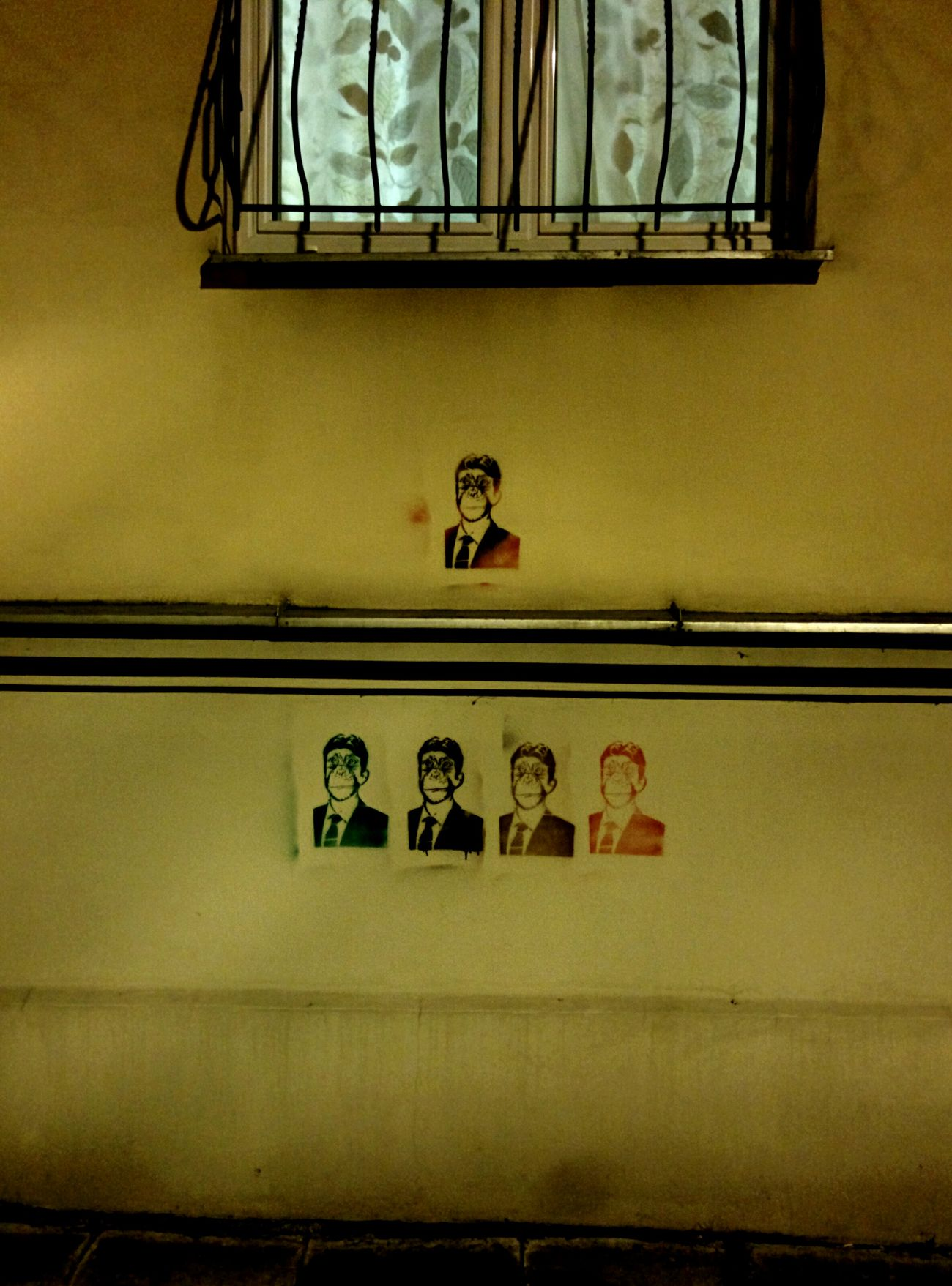 Monkey in suit Mural Streetart Fuckthesystem Żoliborz Warsaw