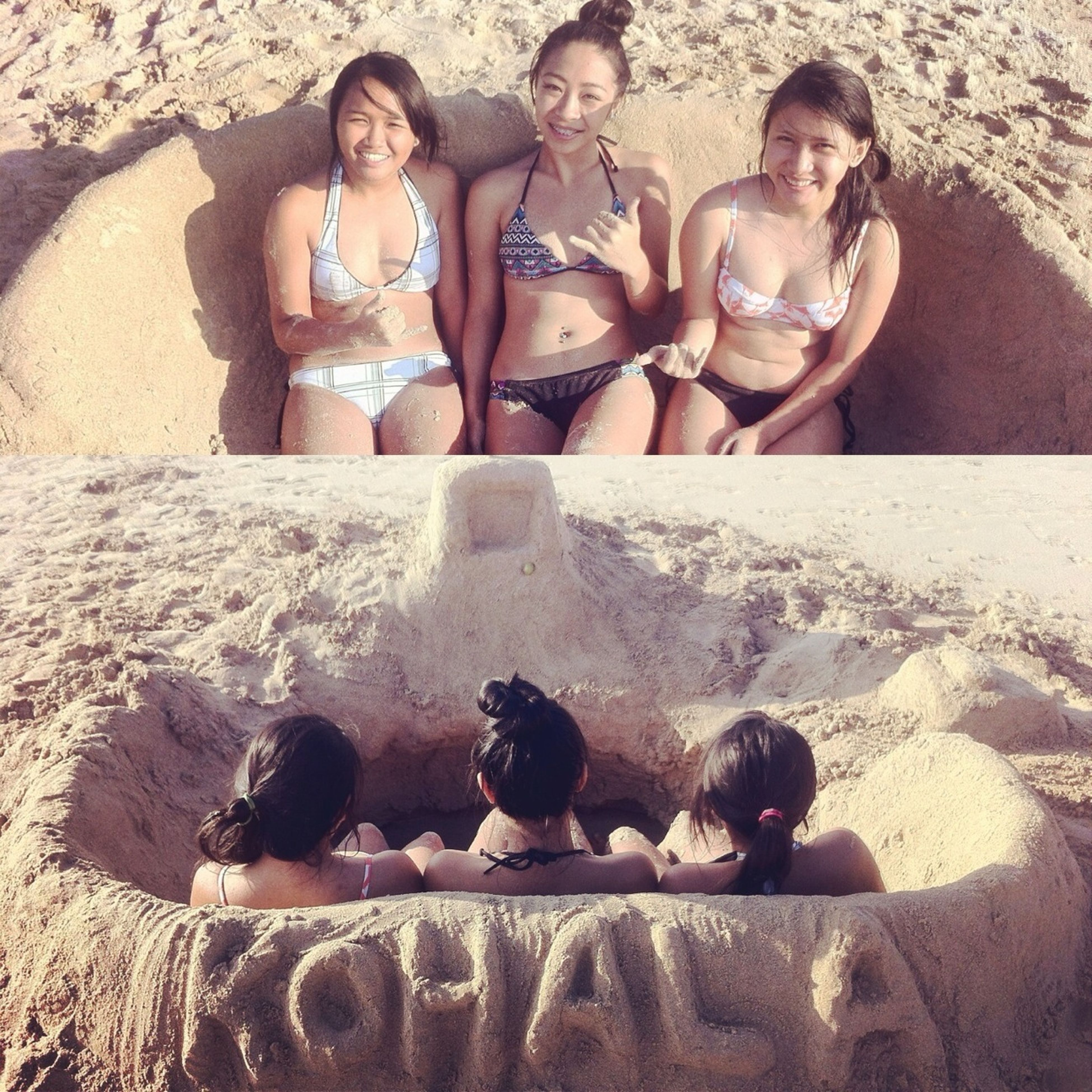 Cousin Bonding At Hapuna. Made A Couch & A Tv Out Of Sand