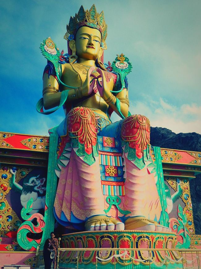 And then we laid our eyes on this ...it was like peace washed over us Ladakh Largerthanlife Peaceful EyeEmBestPics Leh Ladakh.. Indian Culture  Buddha Statue