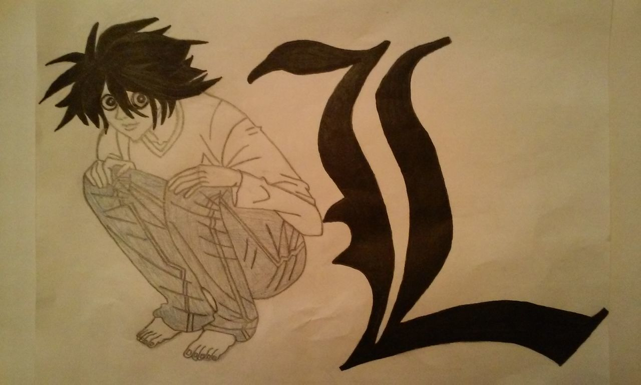Death Note L From Death Note Looking At Camera Anime Drawing 3XSPhotographyUnity Drawing ✏ Pencil And Paper 3XSPUnity Manga Anime DeathNote Paper Crazy Hair Finished Drawing Fanart Pencil And Ink Pencil Drawing One Person Crouching Japanese  Japanese Anime