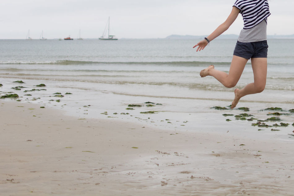 Beautiful stock photos of jump, Beach, Casual Clothing, Day, Enjoyment