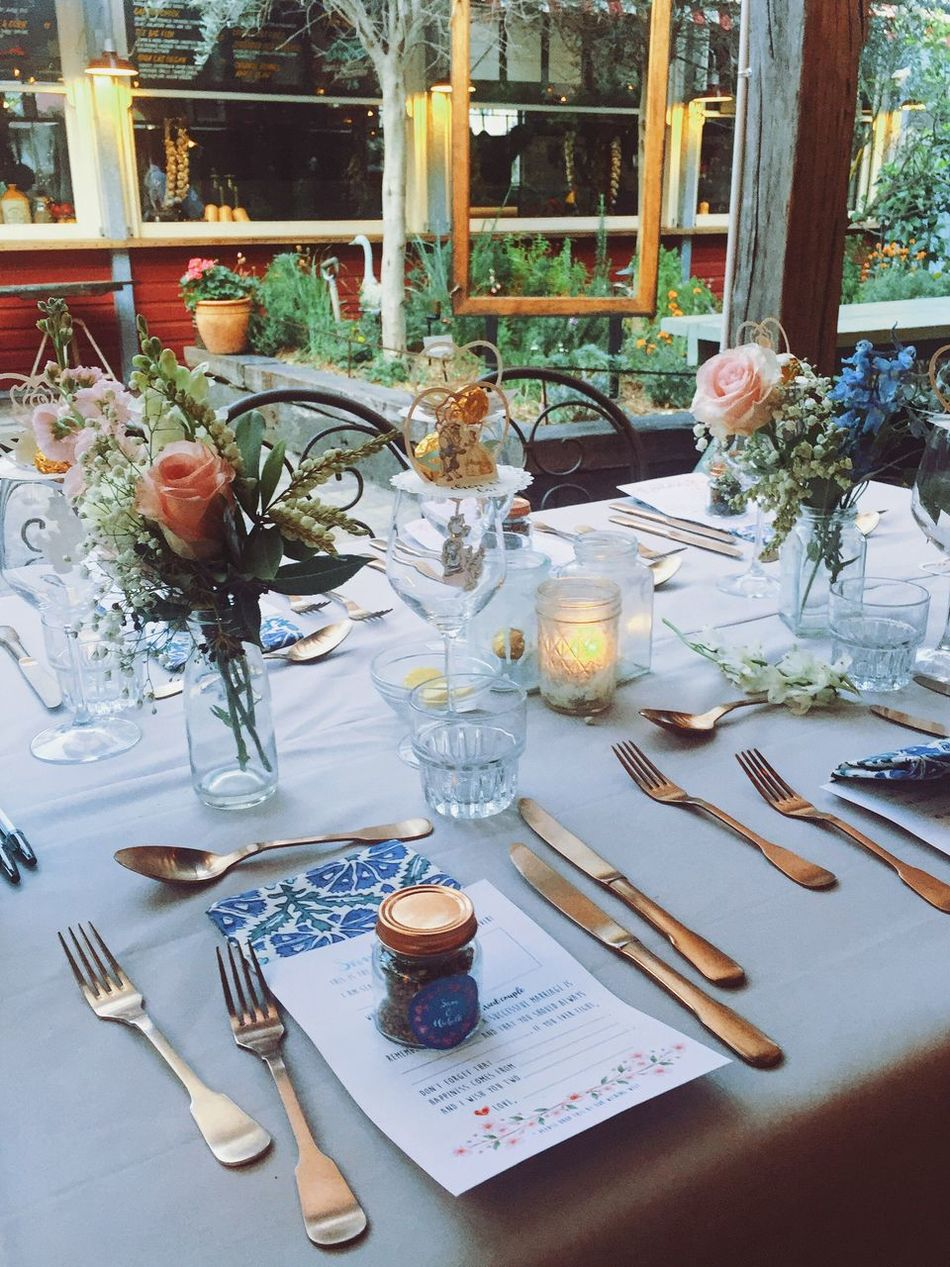 Wedding dinner at The Grounds of Alexandria. Table Place Setting No People Romantic Lovely Pretty Thegroundsofalexandria Wedding Photography Wedding Sydney Bouquet Tables Table Setting