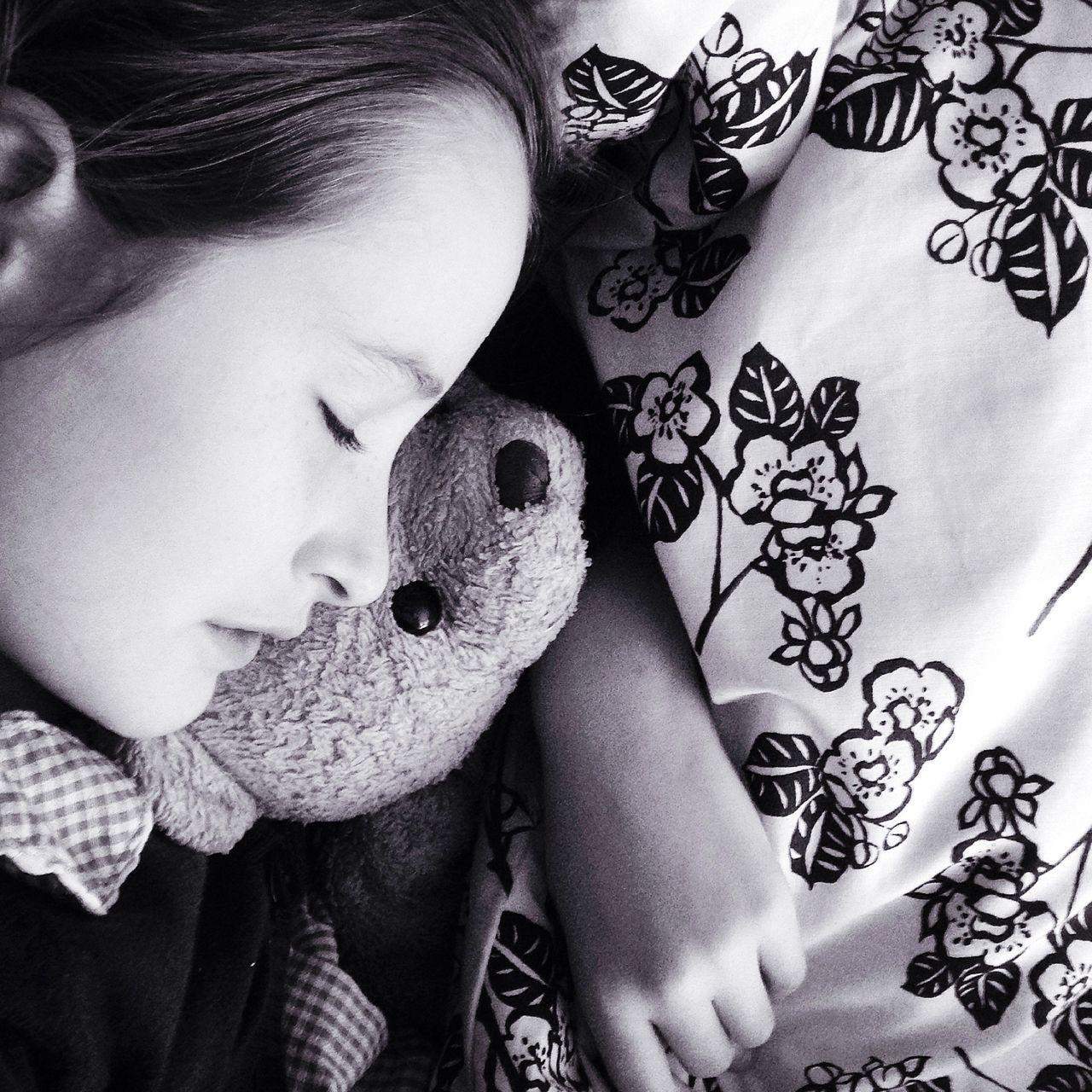 Nap time Nap Child Sleeping Child Black And White Black & White Teddy Teddy Bear Girl And Teddy Cuddle Hug Dream Portrait Of A Child Portrait Sleep