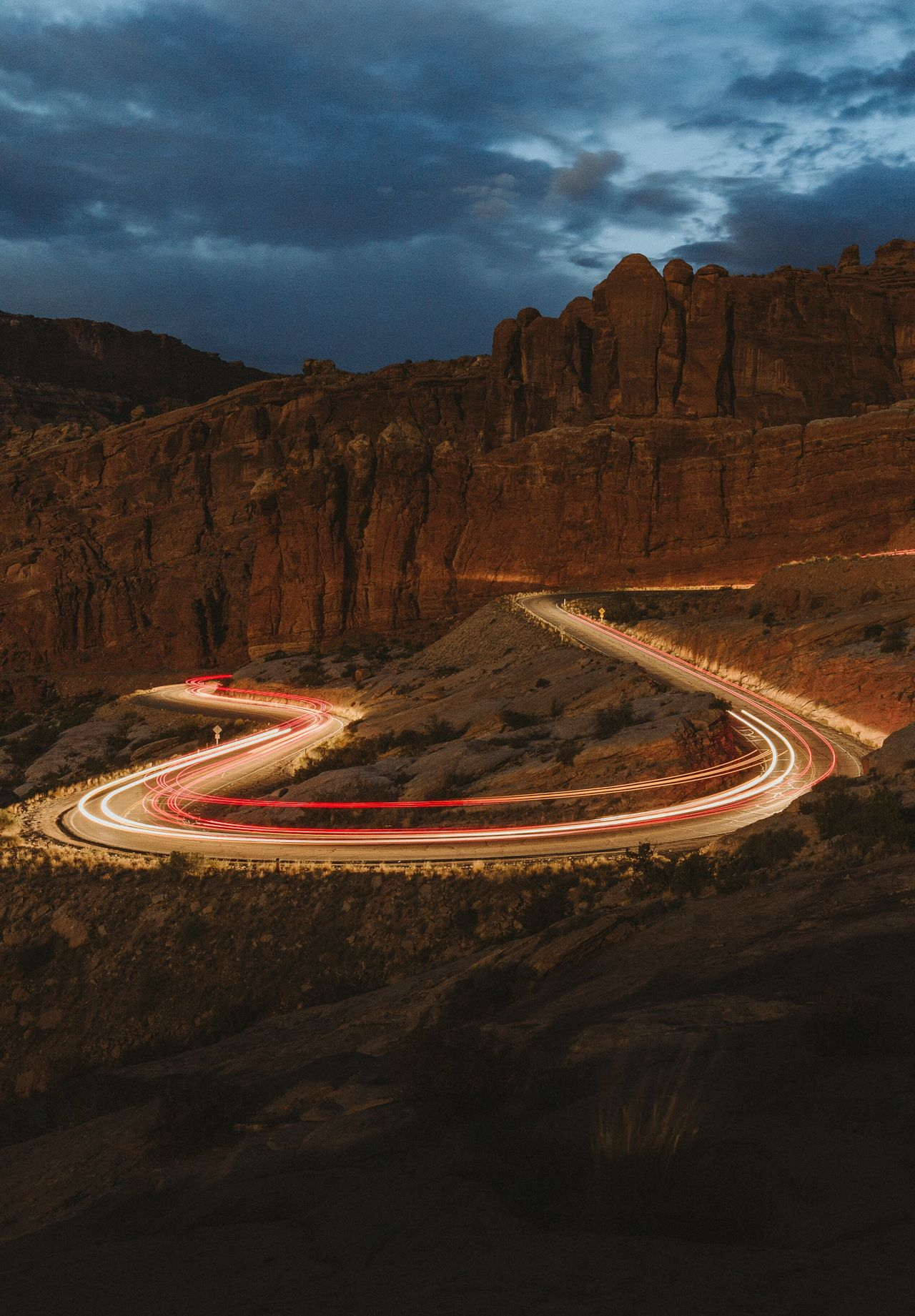 Night Transportation Traffic Headlight Light Trail Red Mountain Dusk Travel Highway Illuminated Sky Long Exposure Winding Road Driving Car Land Vehicle Mode Of Transport Nature Cloud - Sky